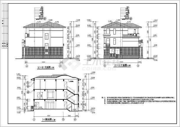 某3层结构框架别墅结构建筑及别墅施工图全套海边度假村图片