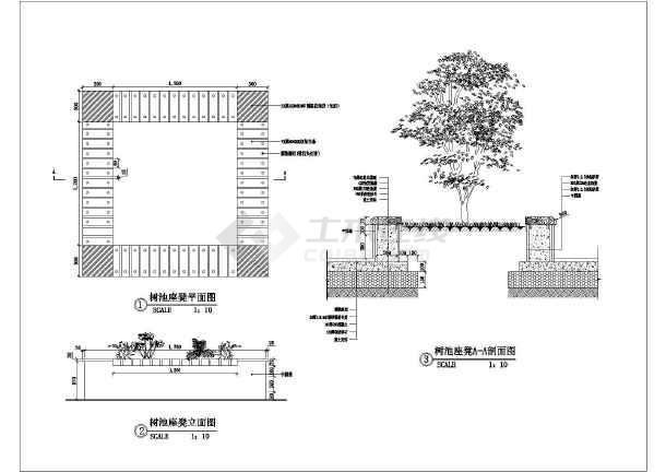 图纸 园林设计图 小品及配套设施 园林桌椅,坐凳设计图 某小区一个很