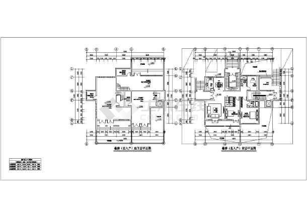 某地三层简欧式别墅建筑设计方案图,图纸具体内容包括各层平面图,立面