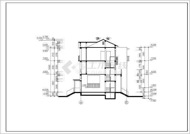 某地区3层联排别墅建筑设计施工图