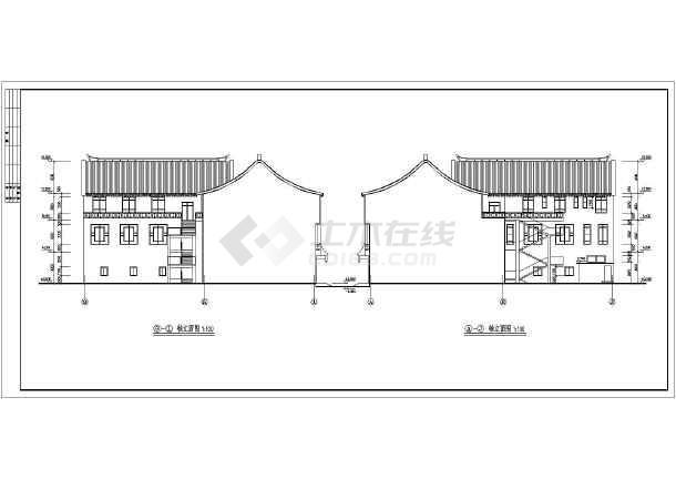 老北京两层四合院建筑设计图纸