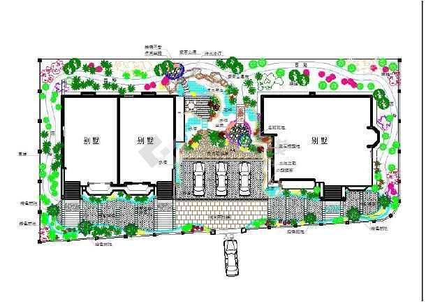 某地小型别墅园林景观方案设计图(含池塘)