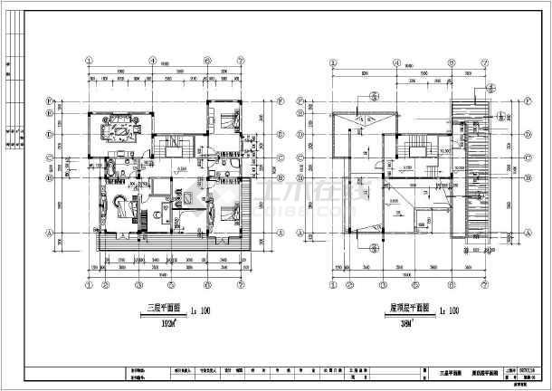 某地农村三层楼别墅建筑结构设计图纸