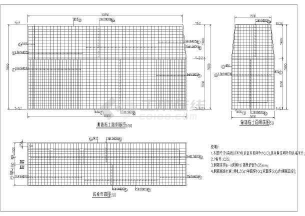 水利工程某圆形蓄水池结构及钢筋图_cad图纸下载-土木