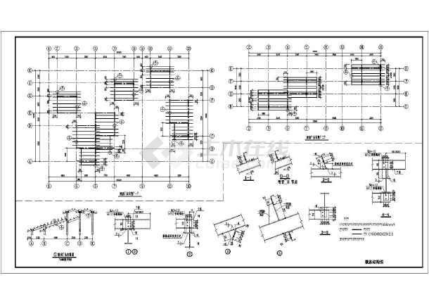某地4层钢结构别墅别墅全套框架施工图大港区结构图片