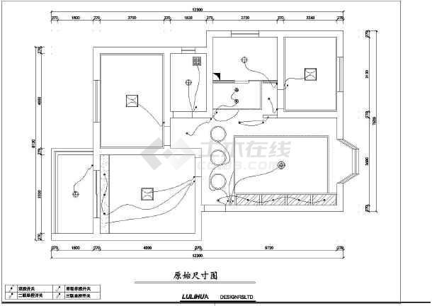 某地三室一厅一厨一卫建筑装饰设计施工图_cad图纸图片