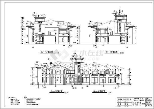 欧式会所设计施工,该图纸包括:建筑各层,屋顶平面图,,剖面图,楼梯大样