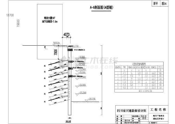 结构图 地基基础图纸 基坑支护图纸 某航空广场项目基坑支护设计施工