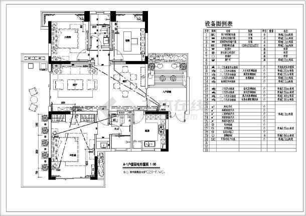 住宅某户型水电专业装修设计平面布置图图片3