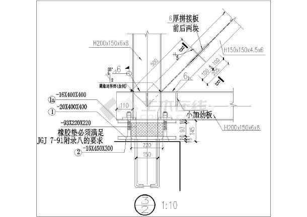 某钢结构人行天桥结构施工图(桁架节点大样齐全)