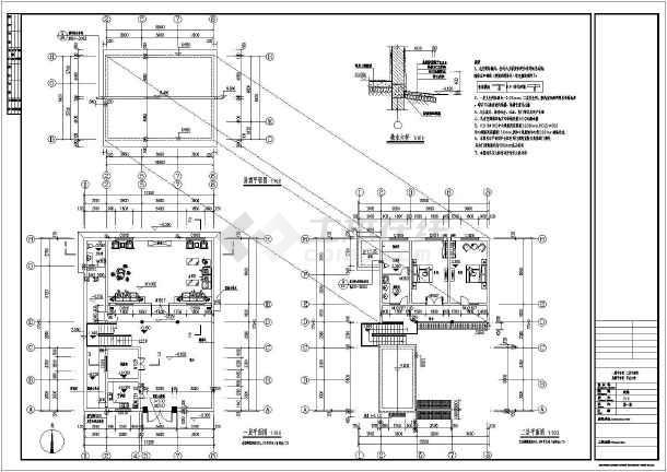 屋顶平面图,节点大样,楼梯大样图,剖面图,附属用房等   层数:主楼两层