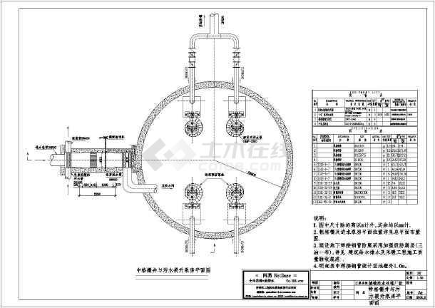 中格栅井与污水提升泵房平面设计图纸