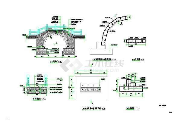 图纸人行钢筋混凝土拱桥_cad园林下载8.0cassfor2008cad图片