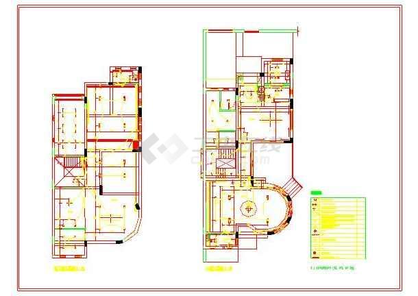 三层别墅装修设计CAD方案设计图 含手绘图