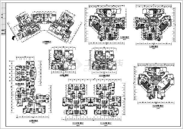 居住建筑(住宅cad图纸)  户型图  很有代表性的塔楼住宅户型平面图