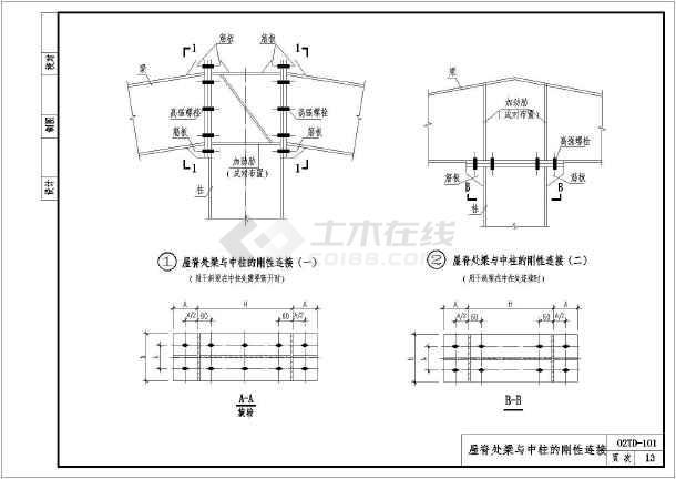 简介:门式刚架轻型房屋钢结构标准图集-主结构分册,包括柱脚铰接连接
