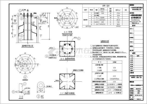陕西西安中国移动图纸塔基础结构图_cad信号土建图纸比例图片