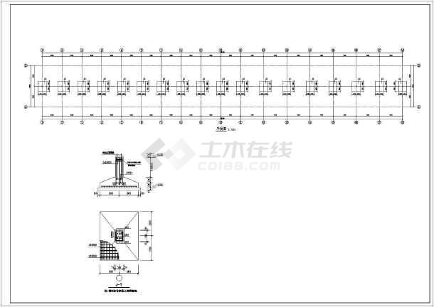 南通某单层悬挑式钢结构车棚施工图