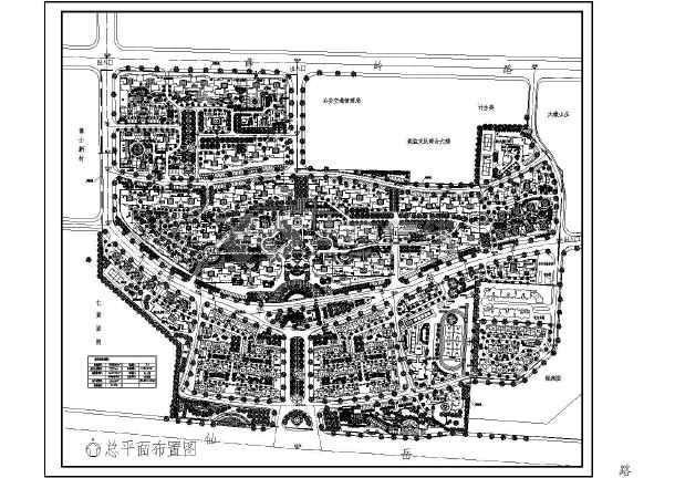 某住宅小区绿化规划总平面布置图纸