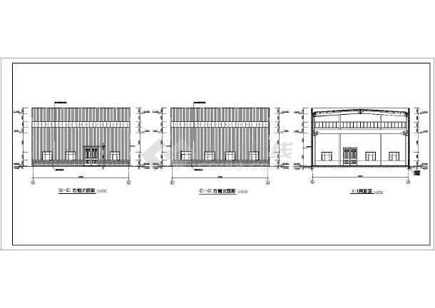 门式钢架结构施工图 门式钢架施工图 门式钢架轻钢结构厂房图 21米跨