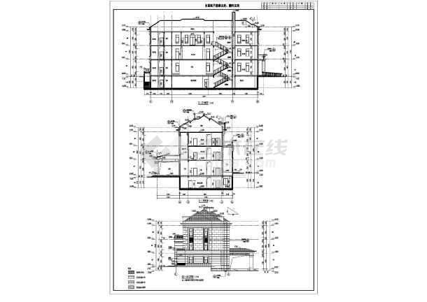 山东某地三层框架结构会所建筑施工图