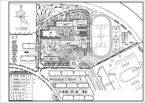 【总平面图】【湖州市】某小学建筑规划总平面图_cad_