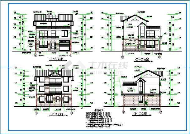 某城市300平米别墅建筑施工设计图