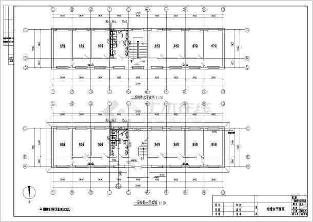 某地二层办公楼室内水暖施工设计图纸图片