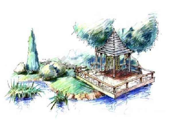 园林景观手绘图 园林手绘图集