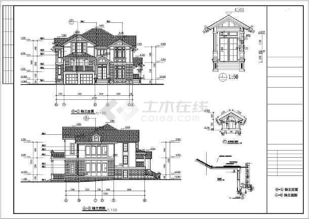 某两层框架别墅建筑,结构设计施工图