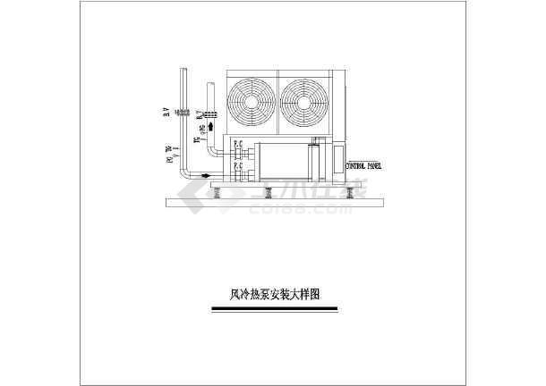 空调水系统设计图,包括:风冷大样图,水泵安装大样图,接管及安装示意图