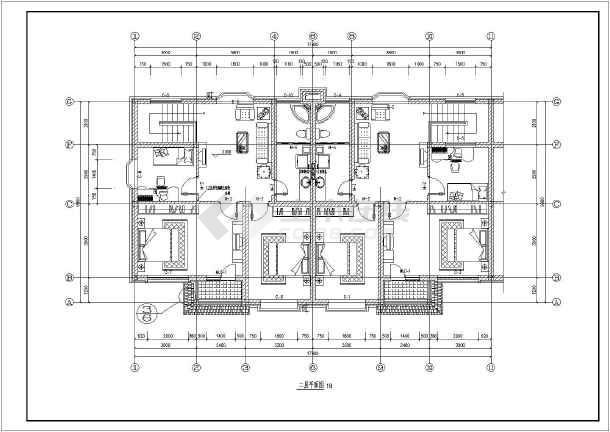 某地两层砖混结构连拼别墅建筑设计施工图图片