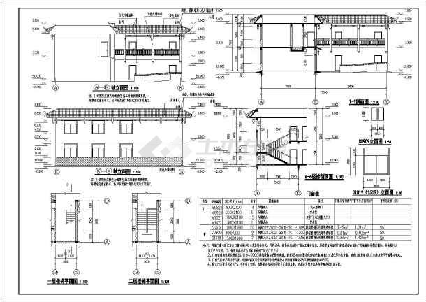 某单位两层砖混结构宿舍楼建筑设计方案图纸