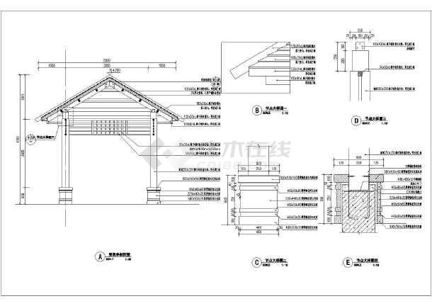 某小区防腐木四角景观凉亭设计方案图