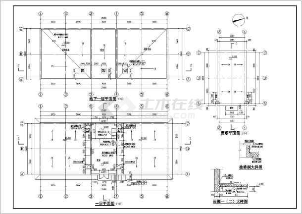 某泵房消防水池和循环水池建筑结构图