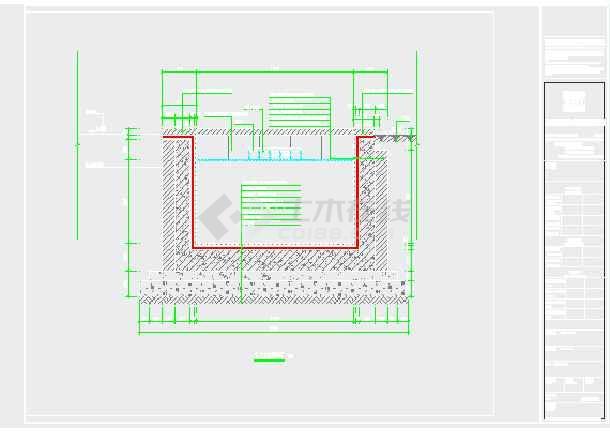 园林设计图 园林水电及相关 景观给排水 某景观跌水水池喷泉水循环