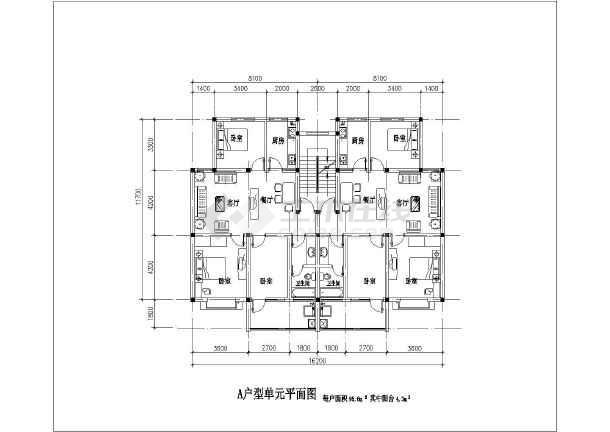 某高档小区住宅建筑户型平面设计图图片1