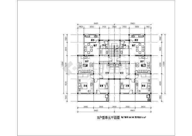 某高档小区住宅建筑户型平面设计图