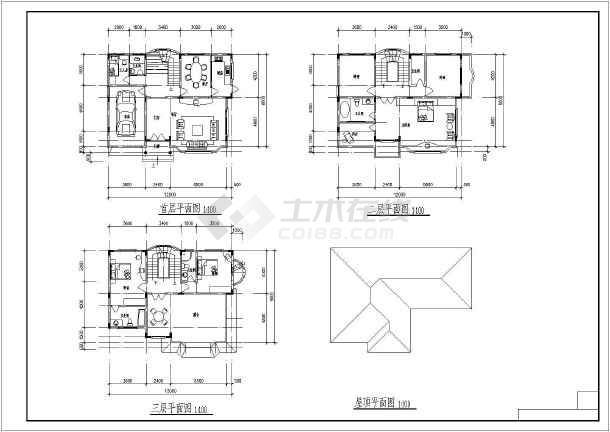 简约欧式风格三层小方案建筑设计图纸图_cad最强-别墅烟感探测器表示00图片