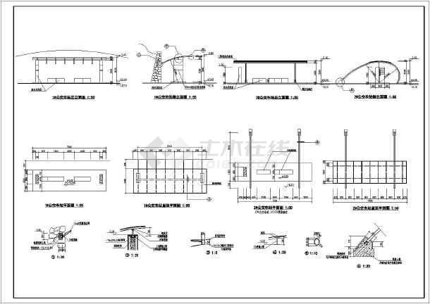 某市公交车站候车亭详细设计施工图纸