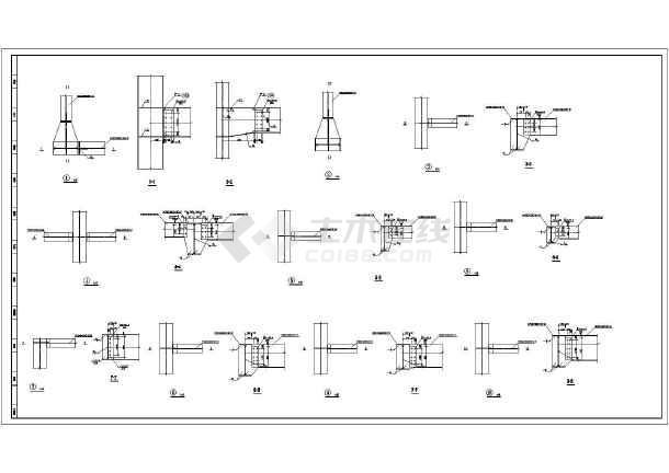 某地单层钢框架结构展厅钢构部分施工图