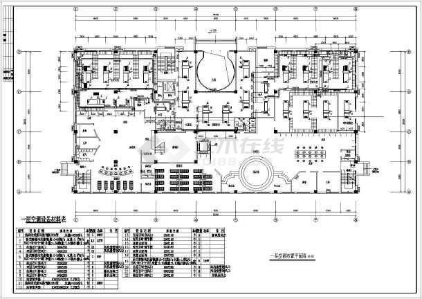 某四层洗浴中心风机盘管加新风系统空调暖通设计平面图