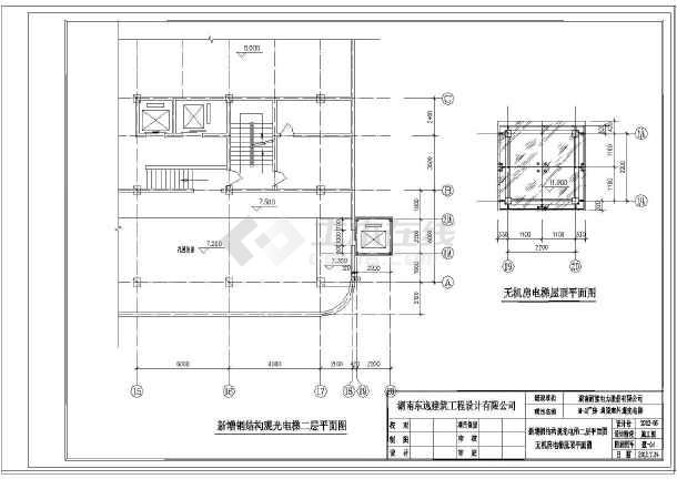 该图纸为某办公楼室外两层观光电梯建筑设计施工图,原有房屋增加