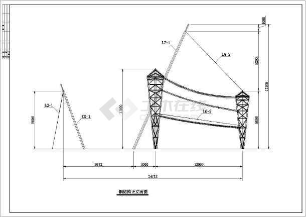 某地钢结构张拉膜小品完整结构图纸