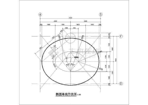 某建筑工程椭圆形楼梯(7m*5m)节点大样图