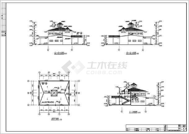 四层框架高尔夫会所建筑,结构施工图