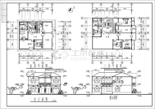 某二层别墅建筑设计图(长15米 宽10.5米)