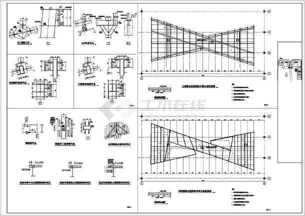 某地三层钢框架结构连廊结构施工图 - 钢框架结构图纸