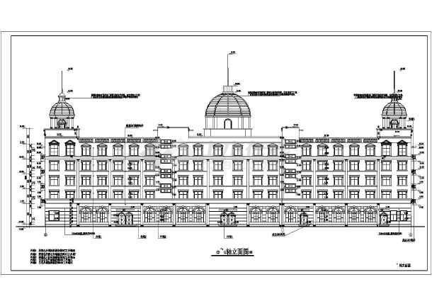 某地五层框架结构欧式酒店建筑施工图