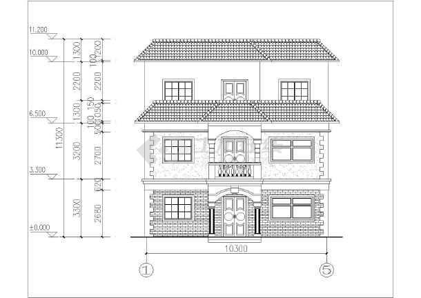 某地区局部三层别墅楼建筑设计方案图